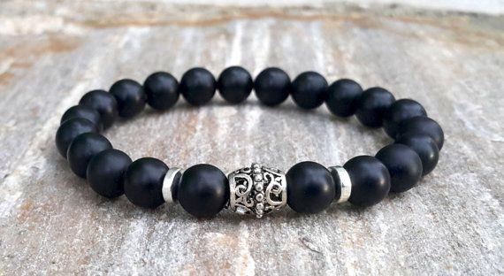 Bracelet de pierres précieuses pour homme noir par Braceletshomme