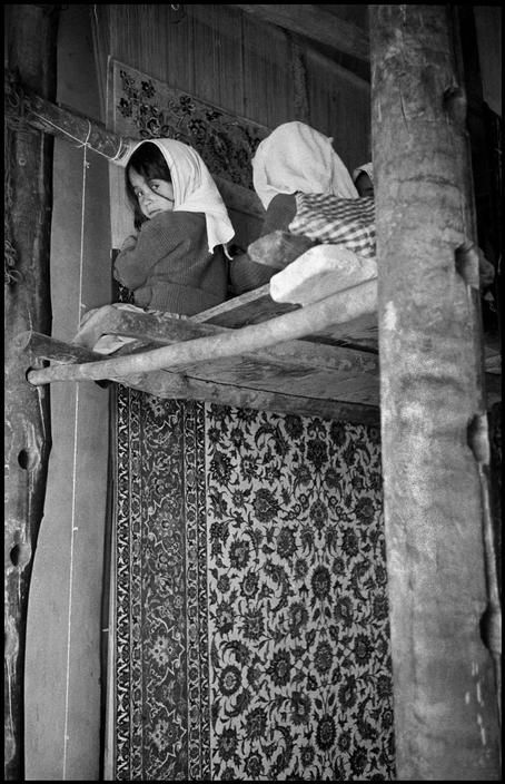 Child Labor :: Young girls knotting a carpet. A glimpse of their life.