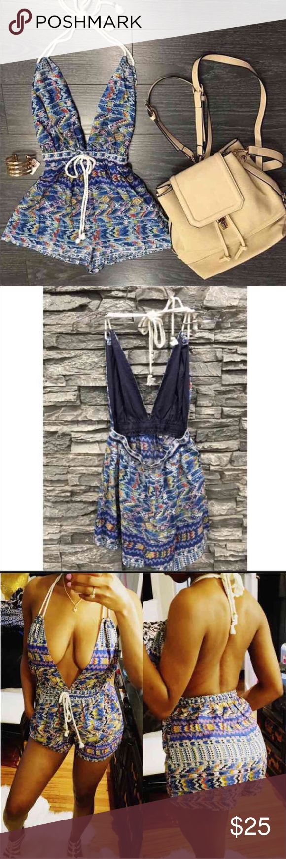 """❤️Sexy Print Halter Romper"""" ❤️Price Firm -Sexy Print Halter Romper"""" Fits Small and medium  Adjustable waist drawstring! Has Pockets! Super brezzy and Comfy!Brand for exp only! Zara Pants Jumpsuits & Rompers"""