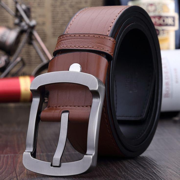 New 2015 fashion man luxury Vintage men's leather belt high quality men black buckle designer cowskin belts free shipping