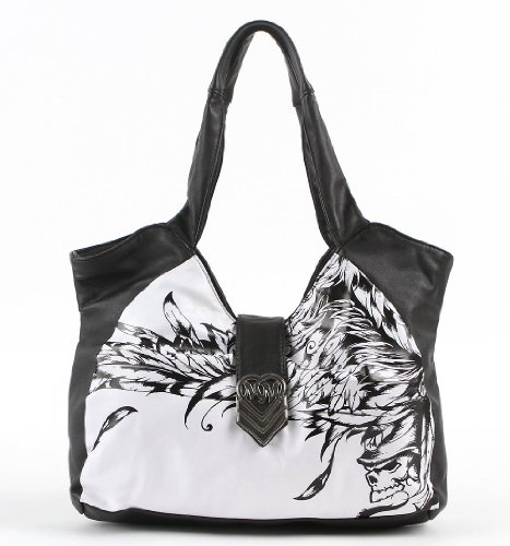 $42.00-$41.50 Metal Mulisha Rapture Purse - Black X Nosz Size - Online Exclusive! An artists drawing is taking over the front of this Metal Mulisha bag! Dont miss your chance to show off your tough side, but in a feminine way! The 2-strap style makes this a fashionable and functional bag with no fuss! Just wear and stay stylish!    Black with white background in front.    Metal Mulisha silver meta ...