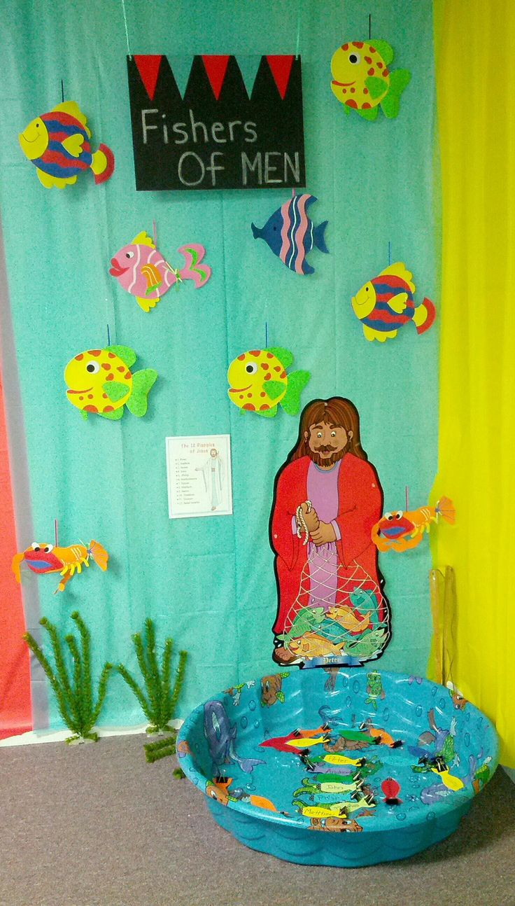 Bible Fun Zone Theme for my Sunday School Class. We will have this carnival type theme during the summer months. In this game, the kids will learn the names of the 12 disciples of Jesus. I will make you fishers of men.