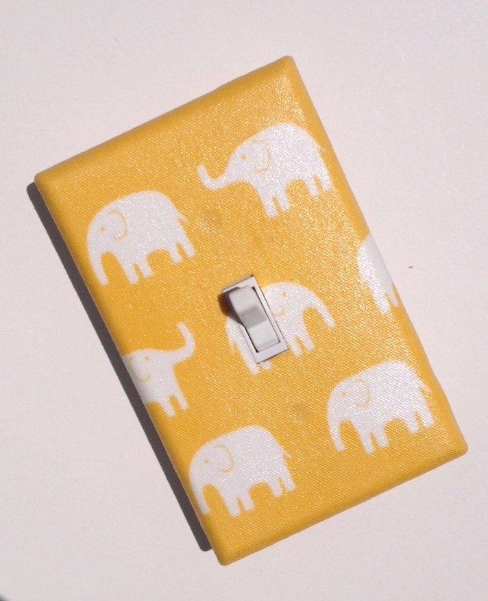 Yellow Elephant / Light Switch Plate Cover / Unisex Gender Neutral / Baby Boy Nursery Decor / Kids Room / Kawaii  / Japanese Fabric. $9.00, via Etsy.