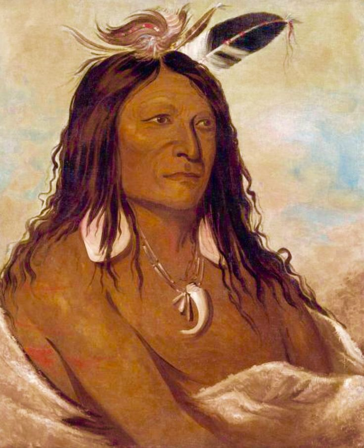 Eé-shah-kó-nee, Bow & Quiver, First Chief of the Tribe -- 1834 -- George Catlin -- American -- Oil on canvas -- Smithsonian American Art Museum, Washington.