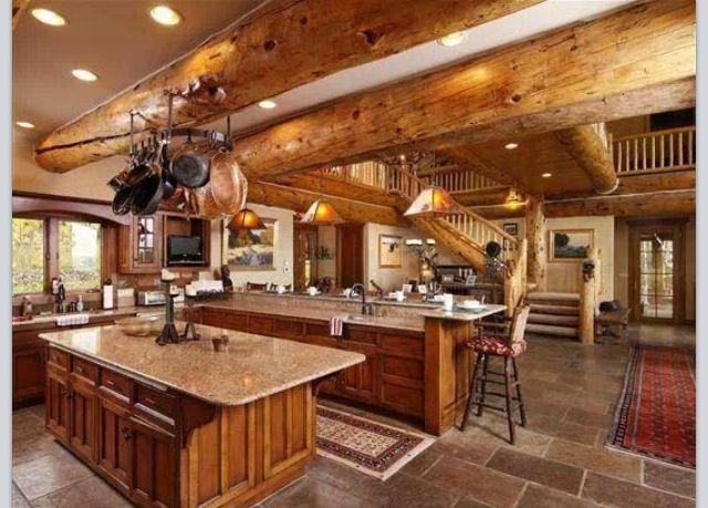 White Log Cabin Kitchen