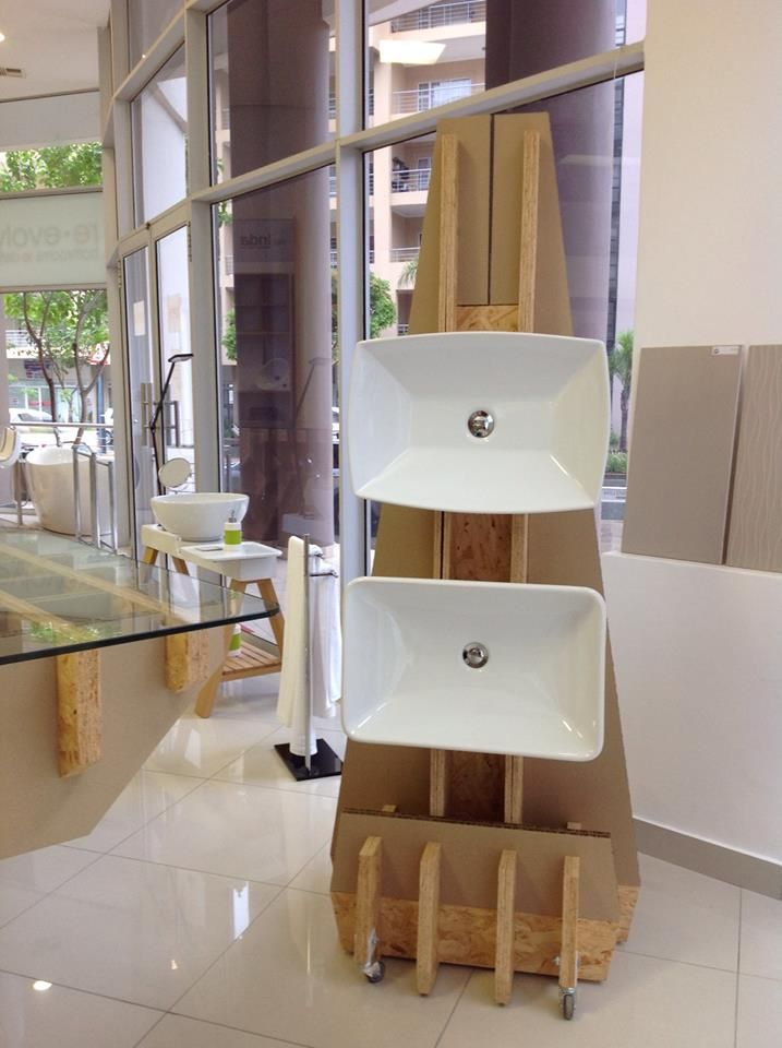 "Some Unique looking ""tree"" stands displaying some of our Artceram countertop basins - Artceram is imported from Italy!"