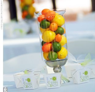 centerpiece idea: Floral Centerpieces, Kitchens Colors, Orange Wedding, Summer Wedding, Centre Pieces, Green Centerpieces, Fruit Centerpieces, Wedding Centerpieces, Center Pieces