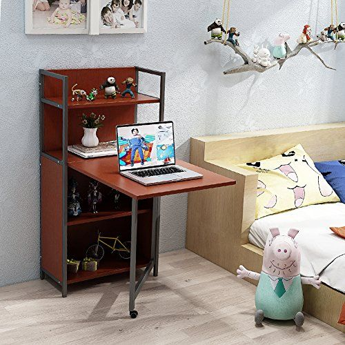 Tribesigns Folding Computer Desk With Bookshelves PC Laptop Study Writing Storage Shelves For Small Space