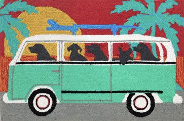 """Frontporch 1475/04 Beach Trip Turquoise, 30""""X20""""X0.38"""" beach-style-outdoor-rugs"""