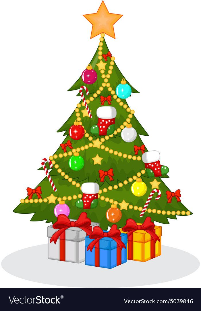 Decorated Christmas Tree Vector Image On Arvore De Natal Arvore