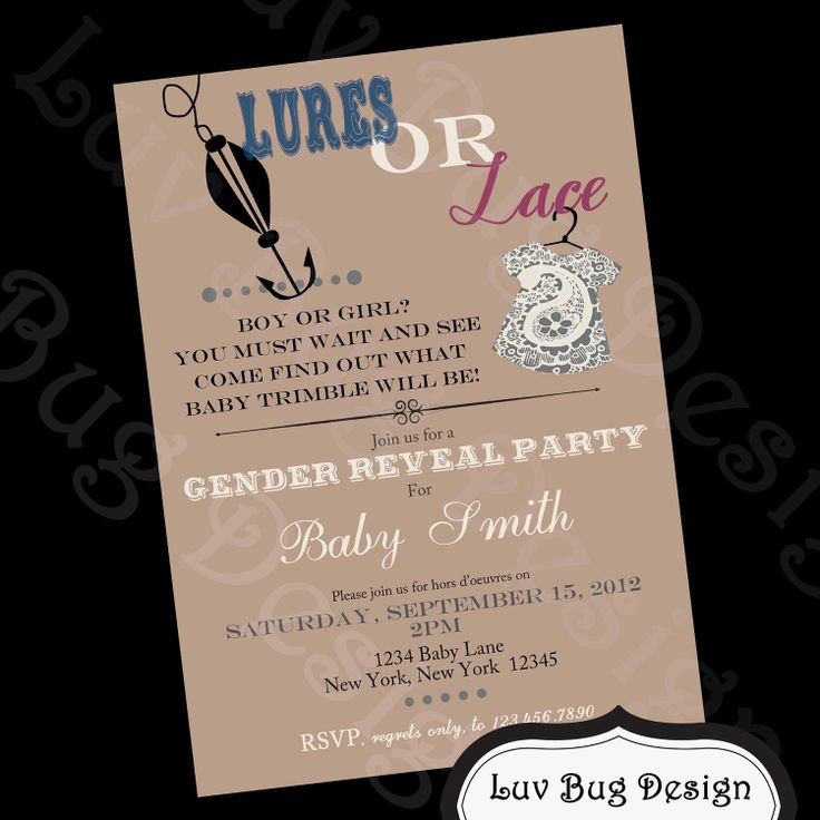 clever baby shower invitation wording%0A Cute idea if we decide not to reveal the gender until the shower  PRINTABLE  Lures or Lace Themed Baby Shower or Gender Reveal InvitationPrintable  party