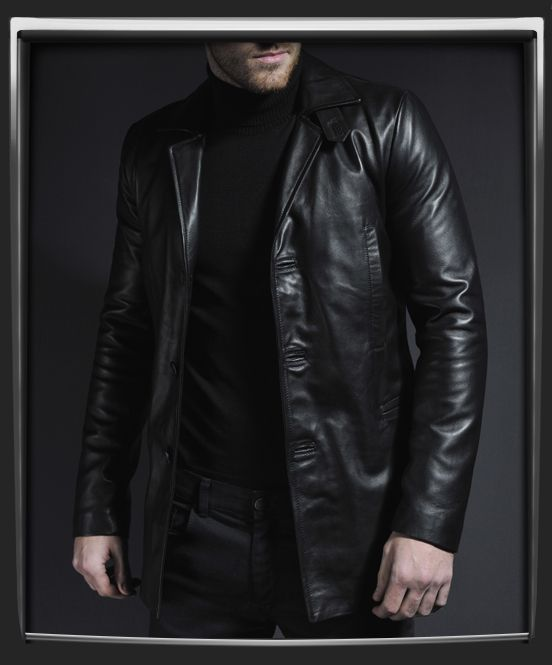 """Max Payne leather jacket.  Renegade, rouge, revenge. Soul Revolver's replica of this classic jacket as portrayed by Mark Walberg in the 2009 movie """"Max Payne"""" is nothing short of dangerous. Drawing from high quality stills and the traditional game back-story this mid-length jacket features vertical chest pockets, and an authentic collar strap detail."""