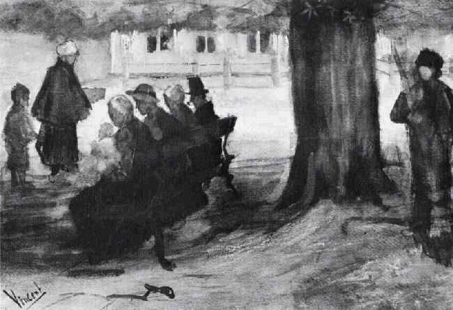 Vincent van Gogh: The Watercolours - Bench with Four Persons (and Baby) The Hague: September, 1882 (Private collection) F 951, JH 197
