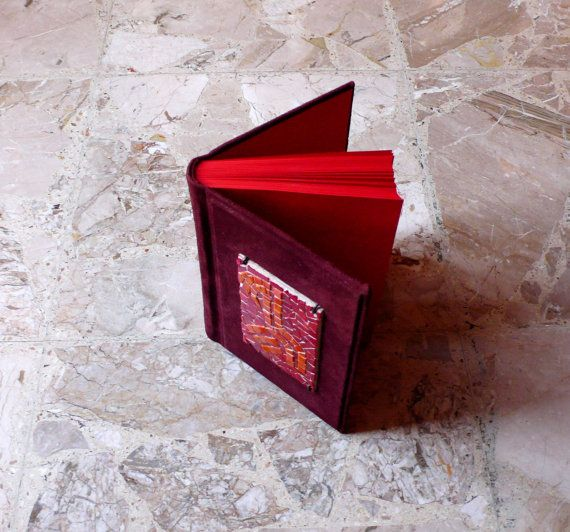 leather mosaic book / coptic book / red by LaTenagliaImpazzita, €120.00