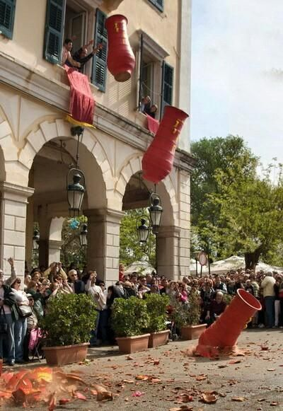 Good morning All., Saturday morning Easter celebrations in Corfu -- dropping ceramic pots of water on to the street .