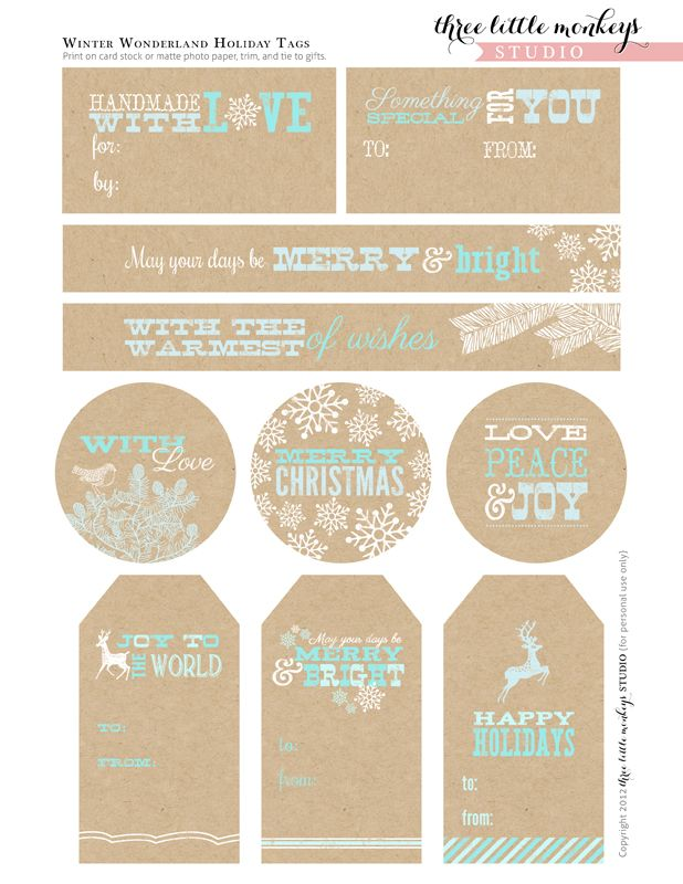 free;  Party circles, Bottle labels, Food labels, Straw flags, Holiday gift tags, Happy Holidays banner, Merry Christmas banner