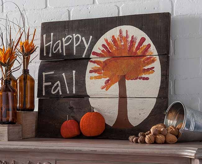 Handprint Fall Tree Plaque