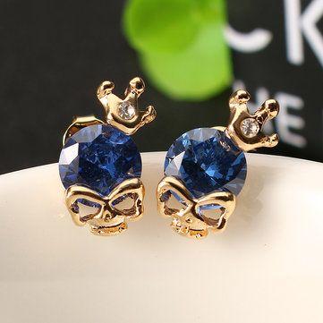 Punk Skull Crown Ear Stud Exquisite Zinc Alloy Rhienstone Earrings for Women at Banggood