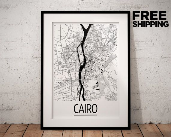 Cairo Map Poster  egypt Map Print  Art Deco Series by iLikeMaps