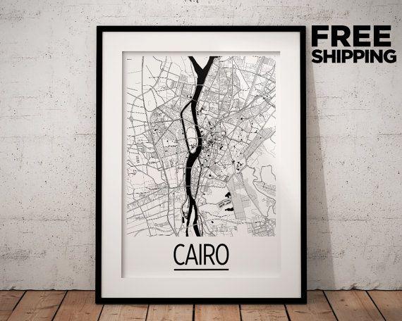 Cairo Map Poster  egypt Map Print  Art Deco Series by iLikeMaps