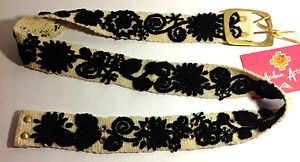 Embroidered Wool Belt Natural Cream Peruvian Tapestry Handmade Handcrafted Black