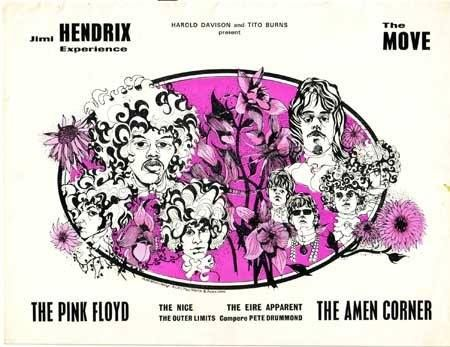 4th Dec 1967, This was the penultimate night of a 16-date UK package tour, on which Pink Floyd joined The Jimi Hendrix Experience, The Move, The Nice, The Eire Apparent, The Outer Limits and Amen Corner to play at the City Hall, Newcastle-Upon-Tyne. Jimi Hendrix was having equipment problems and in his frustration rammed his Gibson Flying V into his speaker cabinets. Like an enormous arrow, the guitar became stuck in the amplifier, which the audience greeted as all was part of the act. More…