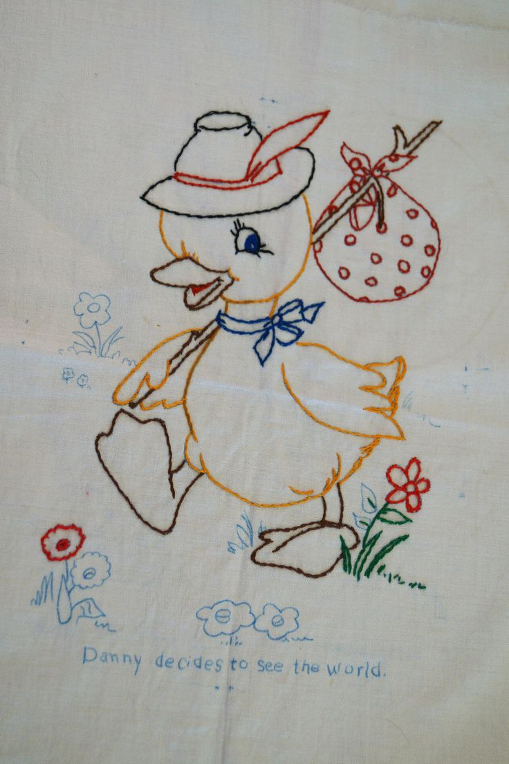 12 Cute Vintage Fabric Baby Quilt Squares Emboidery Transfers Bear Rabbit Ducks   eBay