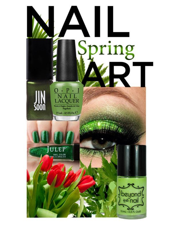 Green With Envy: Wintery Nail Polish by igiulia on Polyvore featuring JINsoon, OPI and nailedit