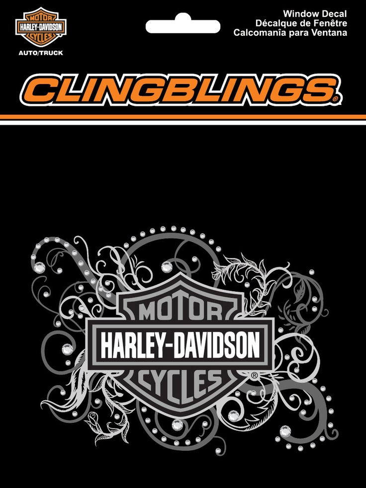 Harley-Davidson® B With Filigree Cling Bling® Static Cling Decal