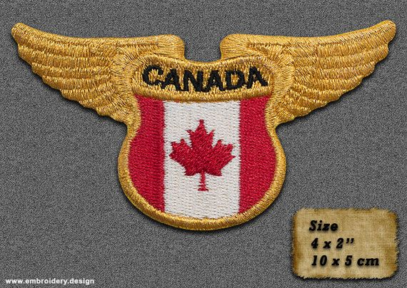 5 QTY Patch Winged Flag of Canada IRON ON by EmbroSoft on Etsy