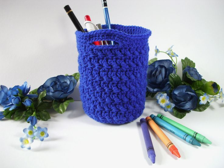 Crochet Storage Basket crochet home decor crochet pencil cup crochet storage bin brush storage bathroom storage make up pencil organizer - pinned by pin4etsy.com