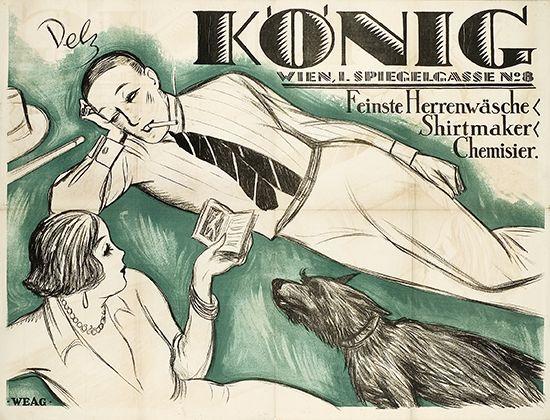 Feinste Herrenwäsche - Shirtmaker - Chemisier - König, Wien A. König Wäschehandel (Inhaber Moritz König), Wien. Entwurf Otto Dely, Österreich um 1924.