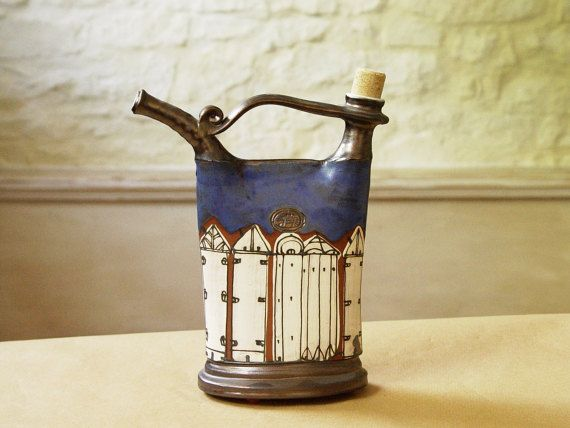 Handmade Blue Pottery Pitcher Ceramics and by DankoHandmade
