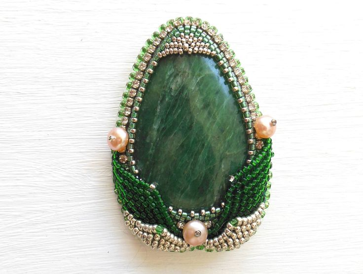 Beaded Pin Brooch Seraphinite Pearl Green Beadwork Stone Bead Embroidered by Reginao on Etsy