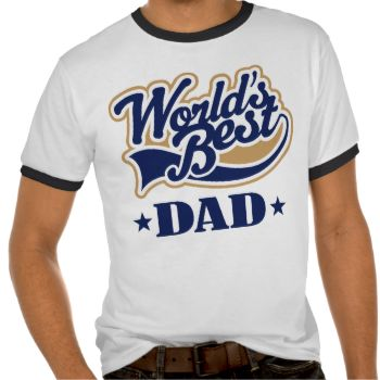 """This fun Dad logo is perfect for Father's Day or for the new Dad, Dad to be, step Dad, granddad too. """"World's Best Dad"""" design comes on a fun gift tshirt with ringer sleeves and neck that makes a nice stocking stuffer or baby shower gift for any father. Sports look logo in navy and tan is a popular choice for any time of year. A unique and memorable gift choice from MainstreetShirt. We love Dad! #gift #for #dad #step #dad #super #dad #gift #for #him #fathers #day #worlds #greatest #dad #dad…"""