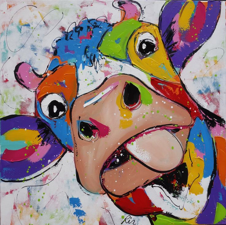 Koeschilderij met veel kleur- Painting of a cow with great color