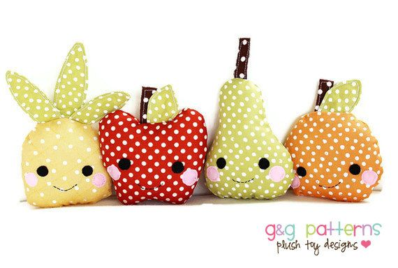 Toy Sewing Pattern - Kawaii Mini Fruit Pattern - Baby Toys, Party Favors - PDF Pattern