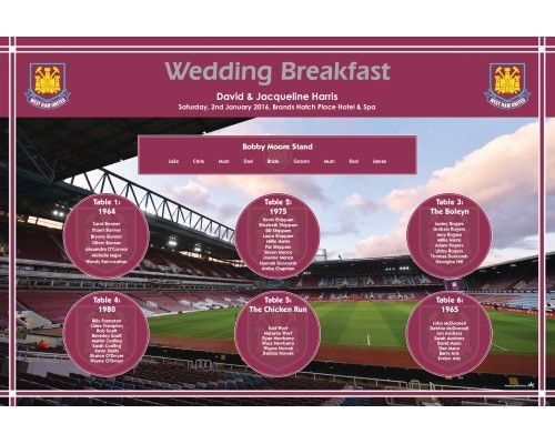 West Ham wedding table plan complete with matching table name cards, individual guest name cards and menus etc