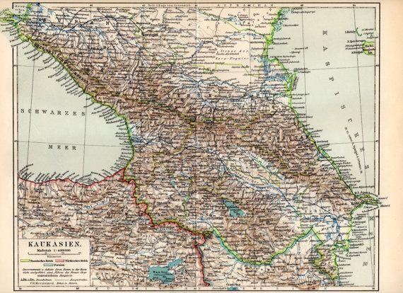 1898 Caucasus Antique Map Russia Dagestan Armenia by Craftissimo