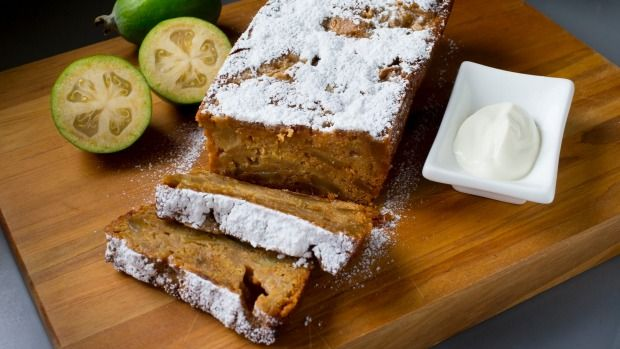 This feijoa, ginger and banana loaf is sweet, sticky and delicious.