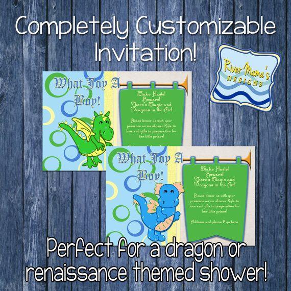 Printable Dragon Baby Shower Invitation or Renaissance Theme