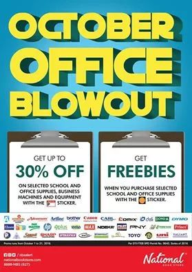 It's a Pre-Holiday treat in National Book Store's October Office Blowout!  Get up to 30% OFF on selected school and office supplies, business machines and equipment marked with a sticker. Plus! Get FREEBIES when you purchase selected school and office supplies with the orange sticker!  Promo available until October 31, 2016 in all National Book Store nationwide.  For more promo deals, VISIT http://mypromo.com.ph/!