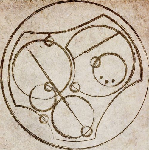 """""""I love you"""", written in Circular Gallifreyan.  Maybe a large embroidery piece as a wall hanging- normal people can see abstract art, we'll see something really special."""