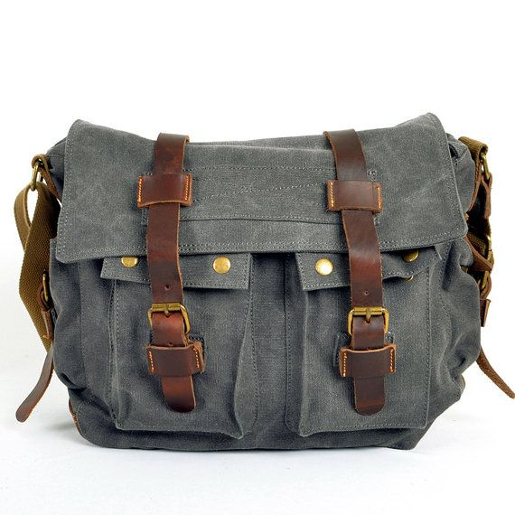 Genuine Cow Leather bag ,canvas bag,Briefcase,satchel,Messenger bag,Laptop bag,Men's leather canvas Bag,cross-body bag on Etsy, $52.00