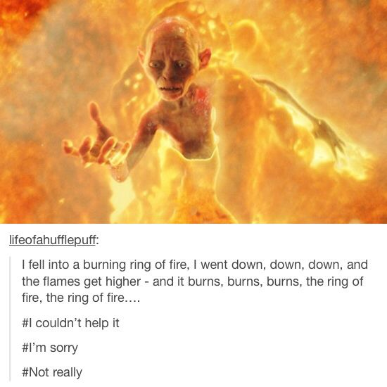 Hehe, I posted this. It got more likes/reblogs on here than it did on Tumblr. And it burns, burns, burns, the ring of fire, the ring of fire.