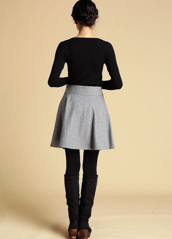 gray wool skirt mini skirt full Skater Skirt (358)