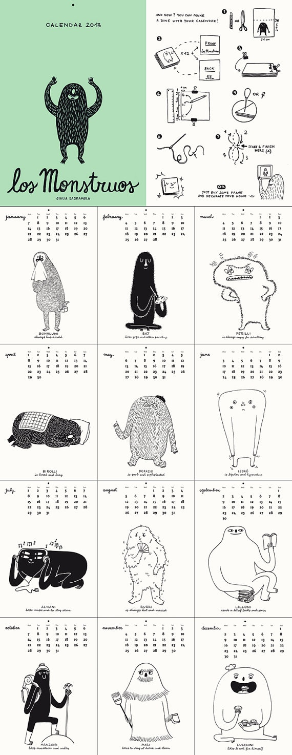 Found my calendar! Want! Los Monstruos / Calendar 2013 & Zine. €9.00, via Etsy. by giuliasagramola .