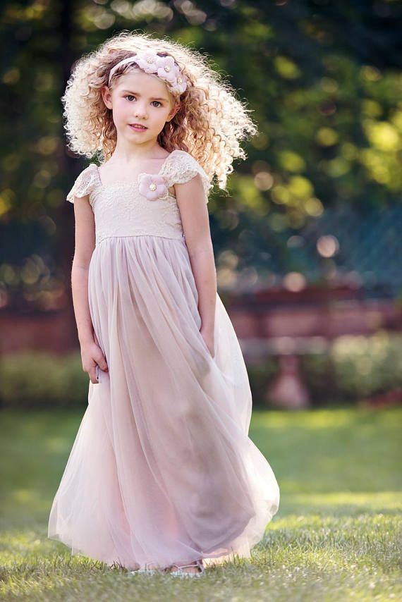 Blush flower girl dress Tulle flower girl dress rustic