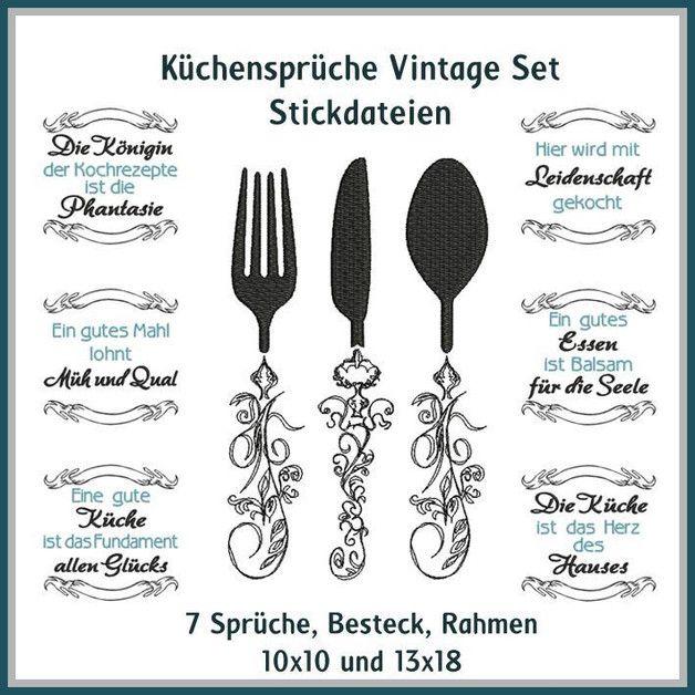Stickdatei Küchensprüche Vintage Set. Küchen IdeenDie ...