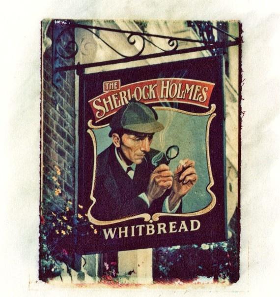 Sherlock Holmes Pub Sign Giclee Polaroid Print Photo by ayachtguy, $14.95